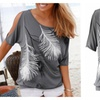 Feather Print Tee Shirt in 3 Colors