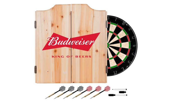 Beer Brand Wood Dart Cabinet Set With Darts And Board ...