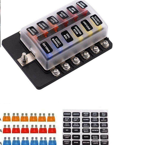 12 Way Car Auto Boat Bus UTV Blade Fuse Box Block Cover 12V LED Indicators