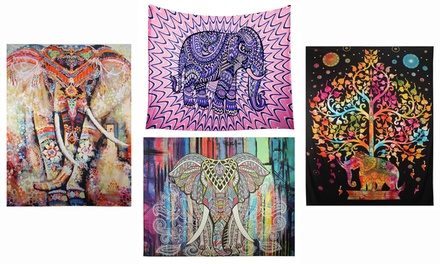 Good Luck Elephant Tapestry Psychedelic Wall Hanging Throw Tapestry