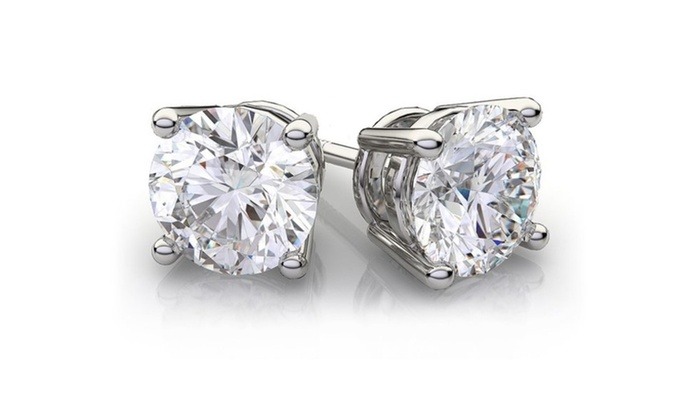Groupon Goods 2 00 Cttw Genuine White Topaz Sterling Silver Studs