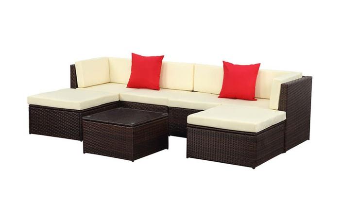Ikayaa 7pcs patio sectional sofa set pe rattan furniture for Sectional sofa set deals