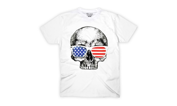 Pins & Bones Retro USA American Outlaw Skull Cotton White T-shirt