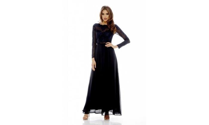 1d120968d AX Paris Women's Long Sleeved Lace Maxi Dress | Groupon