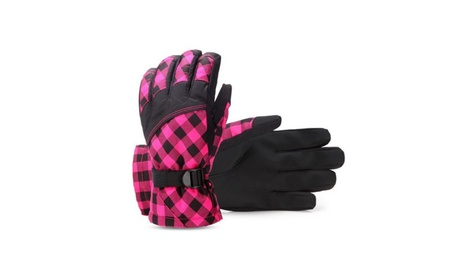 Ski Cycling Gloves Winter Waterproof Warm Fleece Plaid Gloves ce128fde-e63d-475b-a97b-cf8db74b455f