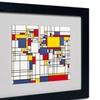 Michael Tompsett 'Mondrian World Map' Matted Black Framed Art