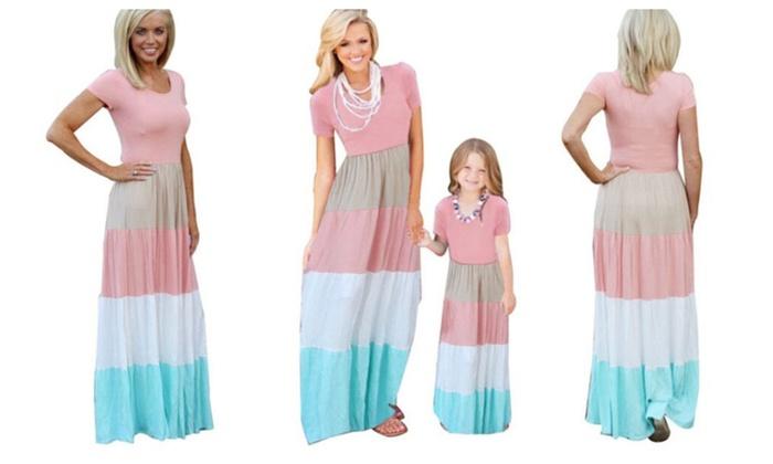 Parent-child Mixed Color Dress