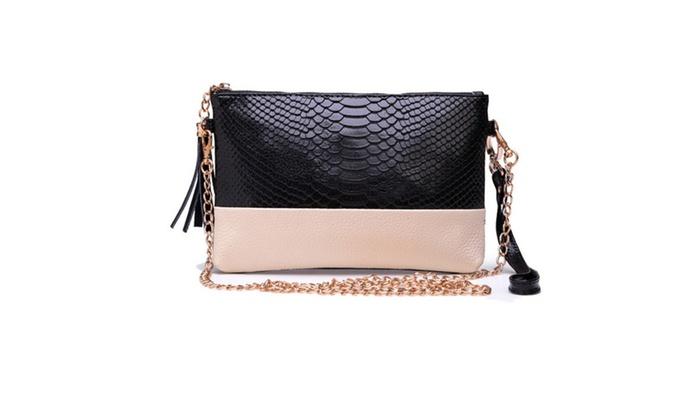 HSP: Women Crocodile Pattern Leather Tassel Shoulder Handbag
