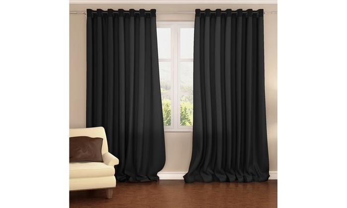 2 pack 54 x 84 energy saving blackout window curtain panels groupon. Black Bedroom Furniture Sets. Home Design Ideas