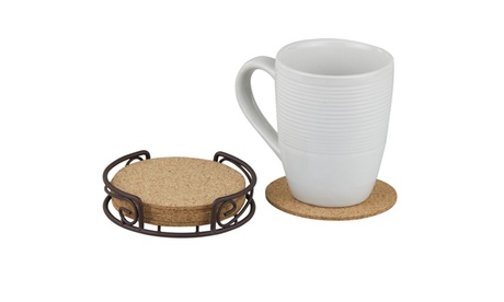 Bronze and All Natural Cork Coaster set of 6 2bb0a4d1-7beb-48cf-b8dc-9b3df740e5d9