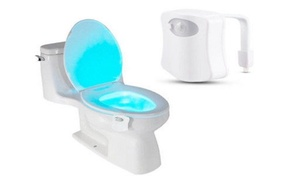 2 Pack 8-Color LED Motion Sensing Automatic Toilet Bowl Night Light