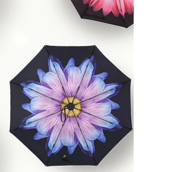 0cea056a394c 50 Anti-UV Sun Rain Protection Windproof Flower Parasols 3 Folding Umbrella