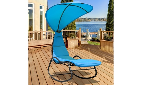 Costway Hanging Chaise Lounge Chair Swing Canopy Thick Cushion 3 colors