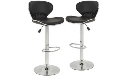 SET of 2 Bar Stools Black PU Leather Modern Hydraulic Swivel Dinning Chair B03