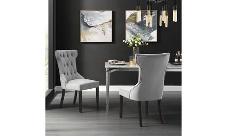 Julia Velvet/Linen Dining Chair Wingback Tufted Upholstered Design - Set of 2