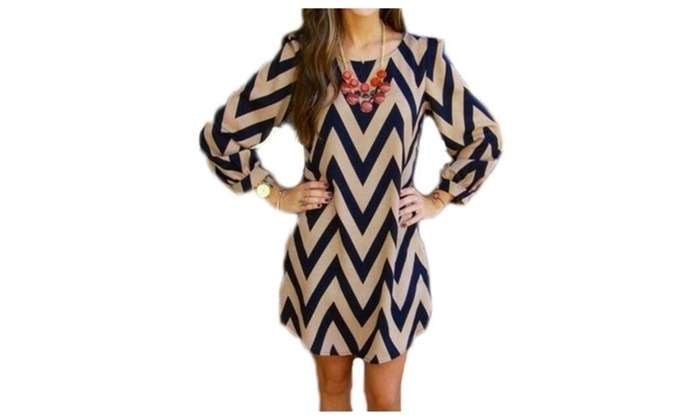 Women Sexy Wave Pattern Water Ripple Printed Long Sleeve Dress