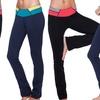 Women's Colorblock Contrast Yoga Pants Slim Fit Flare Pants