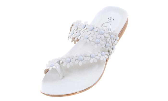Flowers Toe-ring Wedge Slide White Womens Vegan Leather Sandal