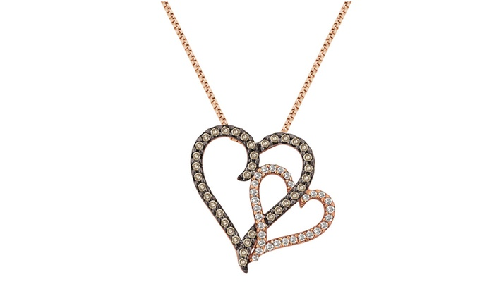 38 cttw double heart diamond pendant in 10k rose gold by 38 cttw double heart diamond pendant in 10k rose gold by diamondmuse mozeypictures Choice Image