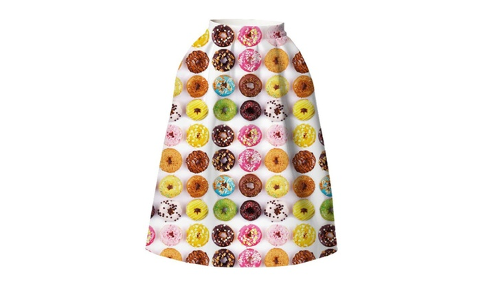 4PING Women's Summer Colored Donuts Printing Puff Skirt Tie-Dyed Skirt