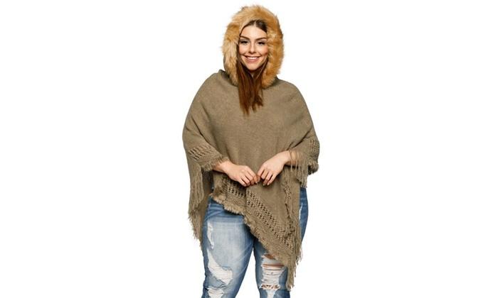 3402cbd67d623 Xehar Women s Plus Size Asymmetrical Fringe Faux Fur Hoodie Poncho Sweater  ...