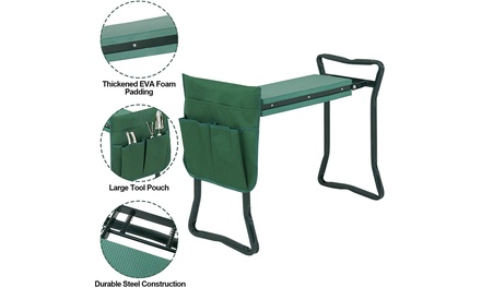 ZENY Folding Garden Kneeler Seat with Foam Kneeling Pad and tool pouch