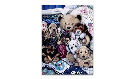 Jenny Newland 'Puppy Party' Canvas Art cf694dad-7b48-4e30-832a-64259b39ec22