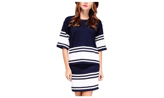 Women's Ladies 1/2 Sleeve Striped Pencil Printed Skirt Set