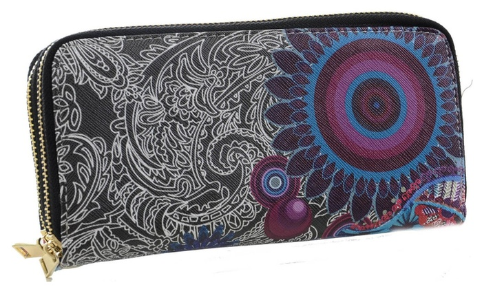 Funky Abstract Hippie Boho Dual Zipper Fashion Wristlet Wallet