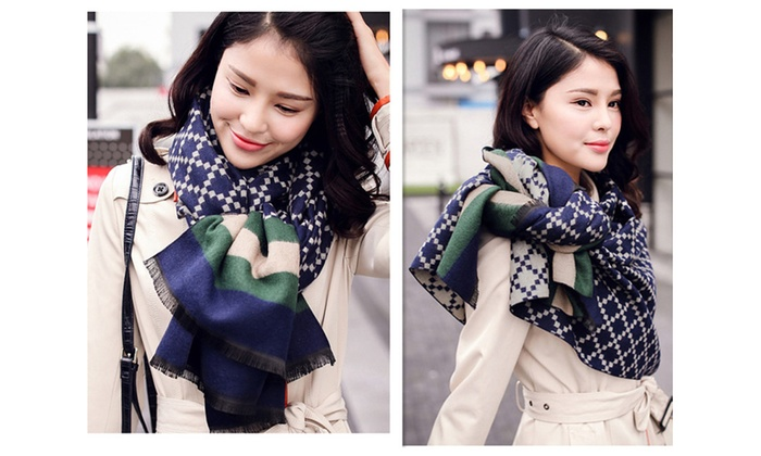 New classic diamond-shaped texture pattern scarves unisex