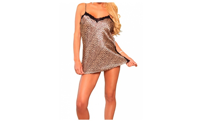 Silky Leopard Print Chemise Babydoll with Black Lace Trim