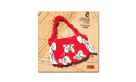 Roderick Stevens 'Bow Purse White on Red' Canvas Art (Goods For The Home Prints & Decals) photo