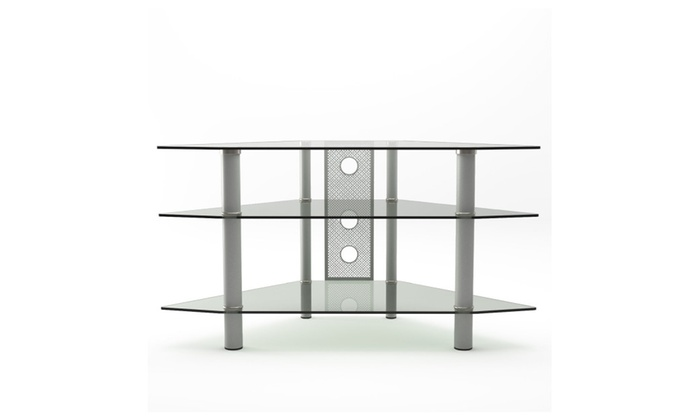 Gibson Living Room Decor Ruby 44 Corner Glass Tv Stand Black Silver
