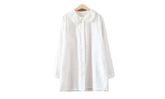 Women's Buttons Up Long Sleeve Solid Simple Blouse