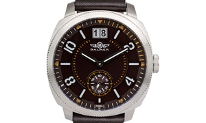 Balmer Stratos Men's Swiss Watch, Big Date, Genuine Leather Strap