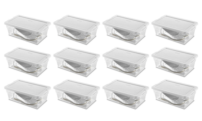 Stackable Shoe Storage Box Or Storage Bin (12 Pack) ...