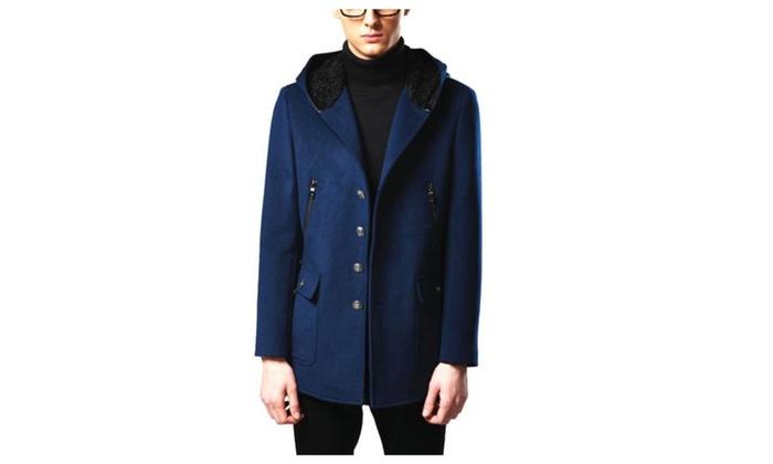 Men's Buttons Up Long Sleeve Regular Fit Simple Wool Coats