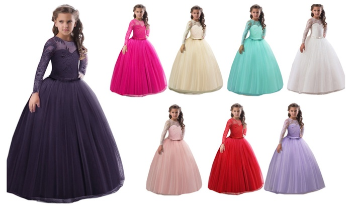 4e6479f2bad83 Kids Girls Long Sleeve Lace Blouse Princess Dress Flower Girl Dresses