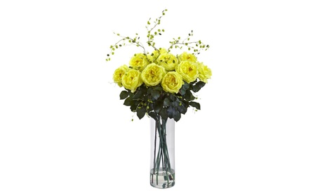 Nearly Natural Giant Fancy Rose and Willow Arrangement 0d6033e0-f4e6-4a03-b9bb-590139123679