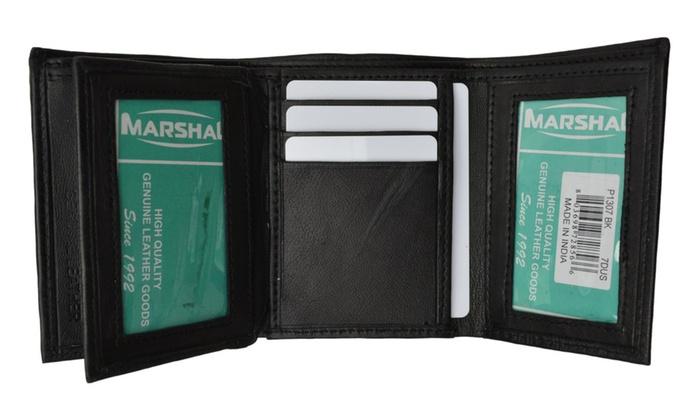 Mens trifold wallet extra capacity 10 inside slots 2 id windows black