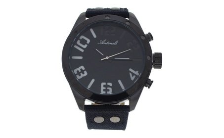 AG1274-02 Black Leather Strap Watch by Antoneli for Men - 1 Pc Watch 58a7d307-0ccf-418c-be2f-cbaa793a9dda