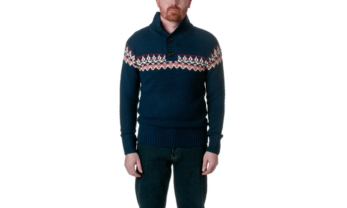 Republic Mens Quarter Button Mock Knit Sweater AF906