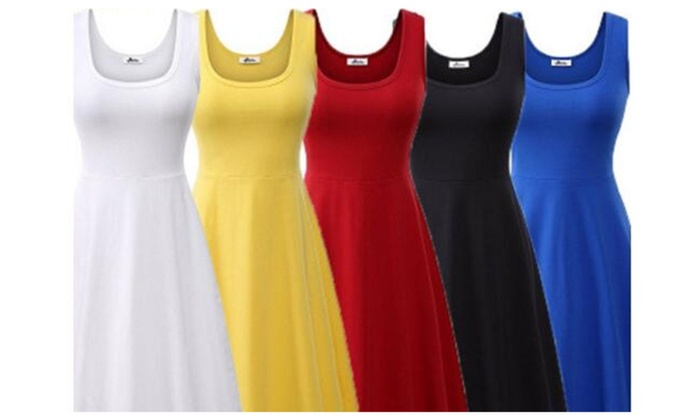 Women Summer Beach Casual Flared Tank Dress