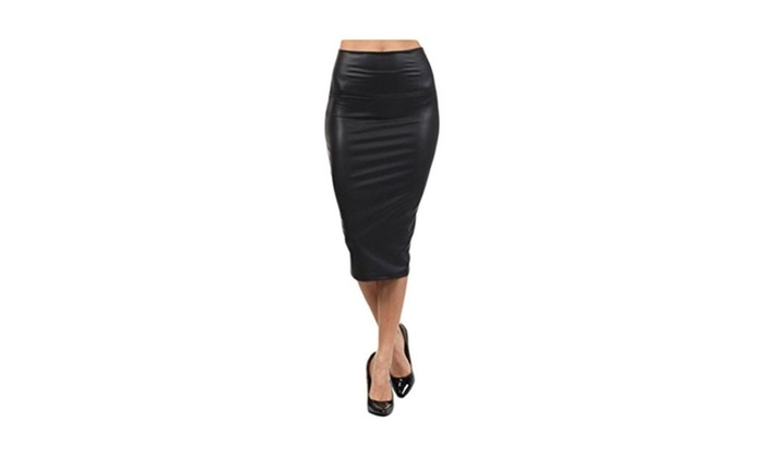 Women's High Waisted Versatile Faux Leather Midi Pencil Skirt