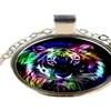 3D Creative Colorful Tiger Head Glass Pendant Necklace