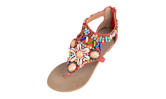 Women's Fashionable Elastic Bohemia Beads Flat Summer Sandals