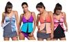 Womens Sexy Runched Tankini Skirt Bottom Set 2pcs Swimsuit Swimwear
