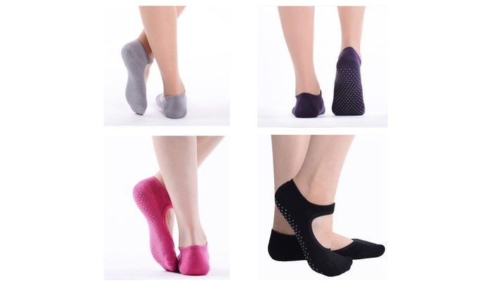 Pack of 4 Women Yoga Socks-Full Toe, Non Slip, Pilates Socks with Grip