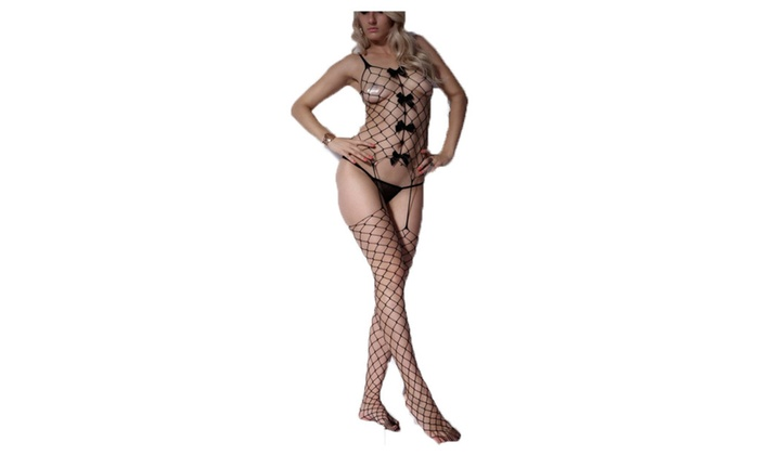 Women's Hollow Out Open Crotch Tights Bowknot Bodystocking Black - Black / One size