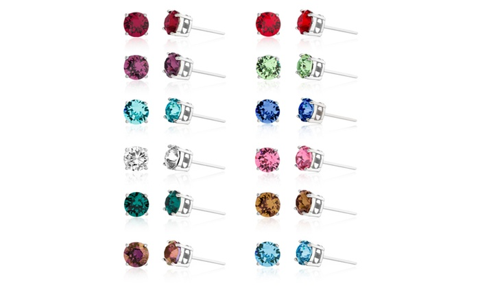 Lesa Michele Swarovski Crystal Birthstone Earrings In Sterling Silver